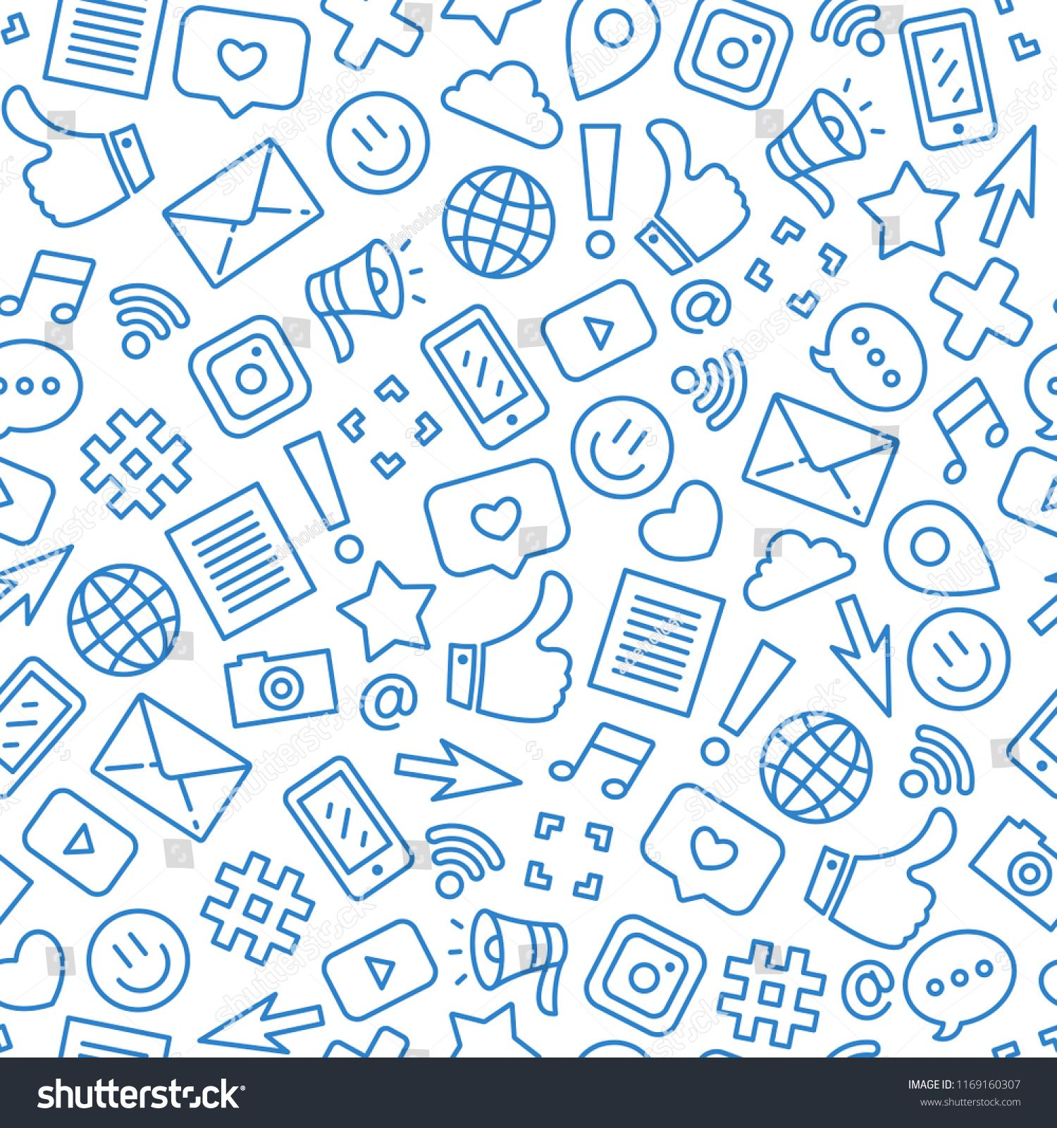 Social Media Minimalist Seamless Pattern Internet Messenger Background Vector Illustration Seamless Seamless Patterns Web Design Tutorials Stock Images Free