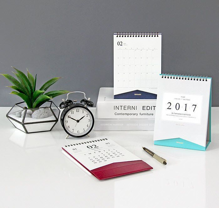 2017 The Basic Official Desk Calendar Stand Planner Scheduler Monthly Agenda