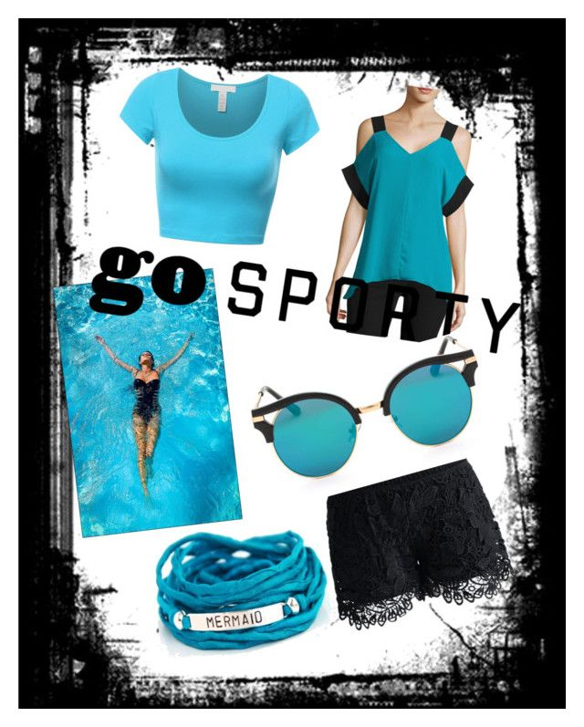 """Go sporty🌊"" by gourinandana ❤ liked on Polyvore featuring Chicwish, Worthington and Blooming Lotus Jewelry"