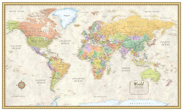 Smithsonian Journeys World Wall Map Tan Ocean Special
