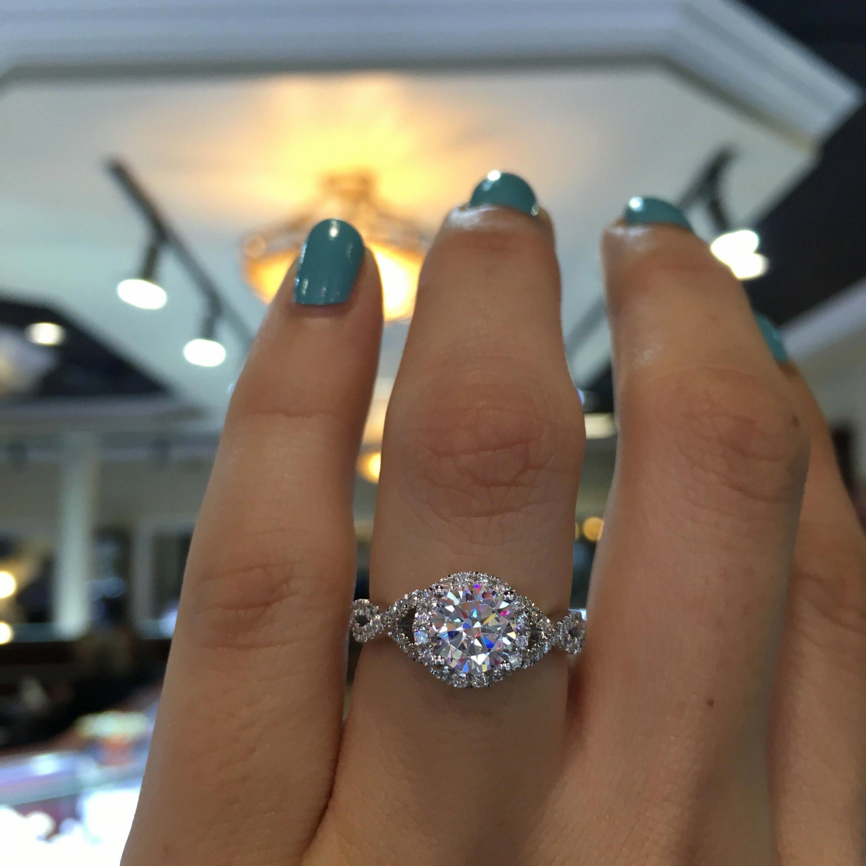 Blue Moissanite Engagement Ring White Gold Ring Twig
