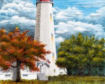 "Note Card. Giclee Print of my original Watercolor art titled ""Sandy Hook Lighthouse"", on high quality Archival paper."
