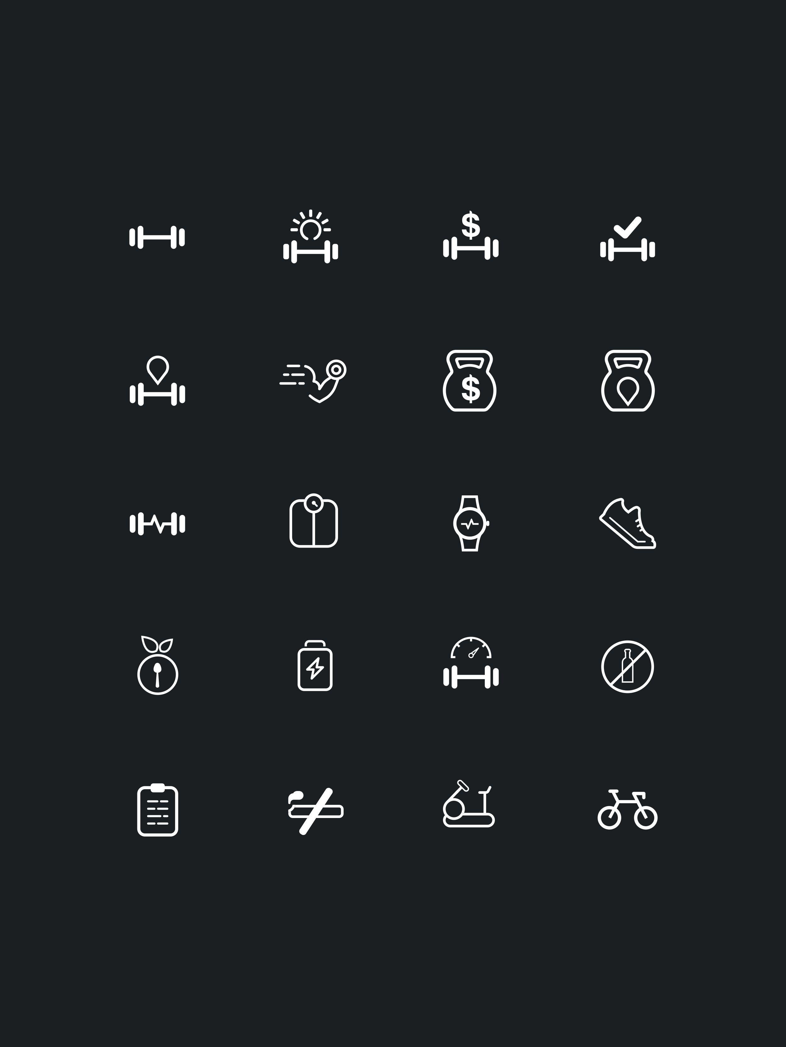 20 Minimal and Premium Fitness icon set. Icon Icon