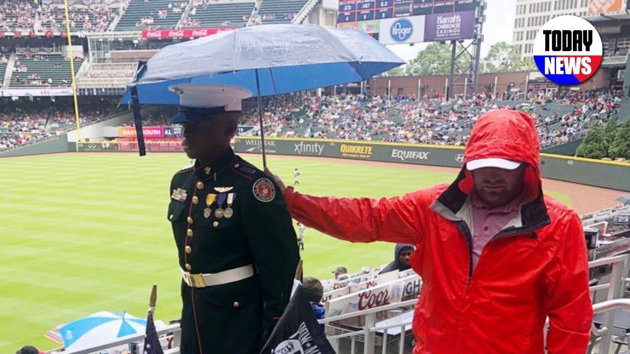 Braves Fan Stands With With Marine Entire Game In Rain After Seeing What Was At His Knees Youtube Atlanta Braves Atlanta Braves Game Baseball Fan