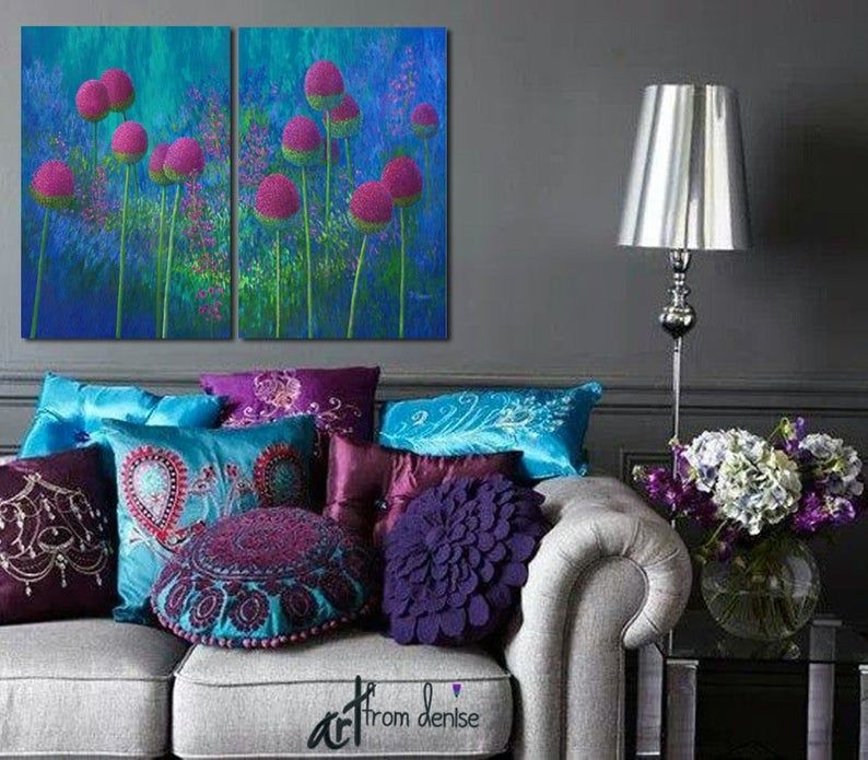 Magenta Blue Green Canvas Wall Art Large 2 Piece Abstract Etsy Purple Living Room Living Room Decor Inspiration Wall Art Decor Living Room