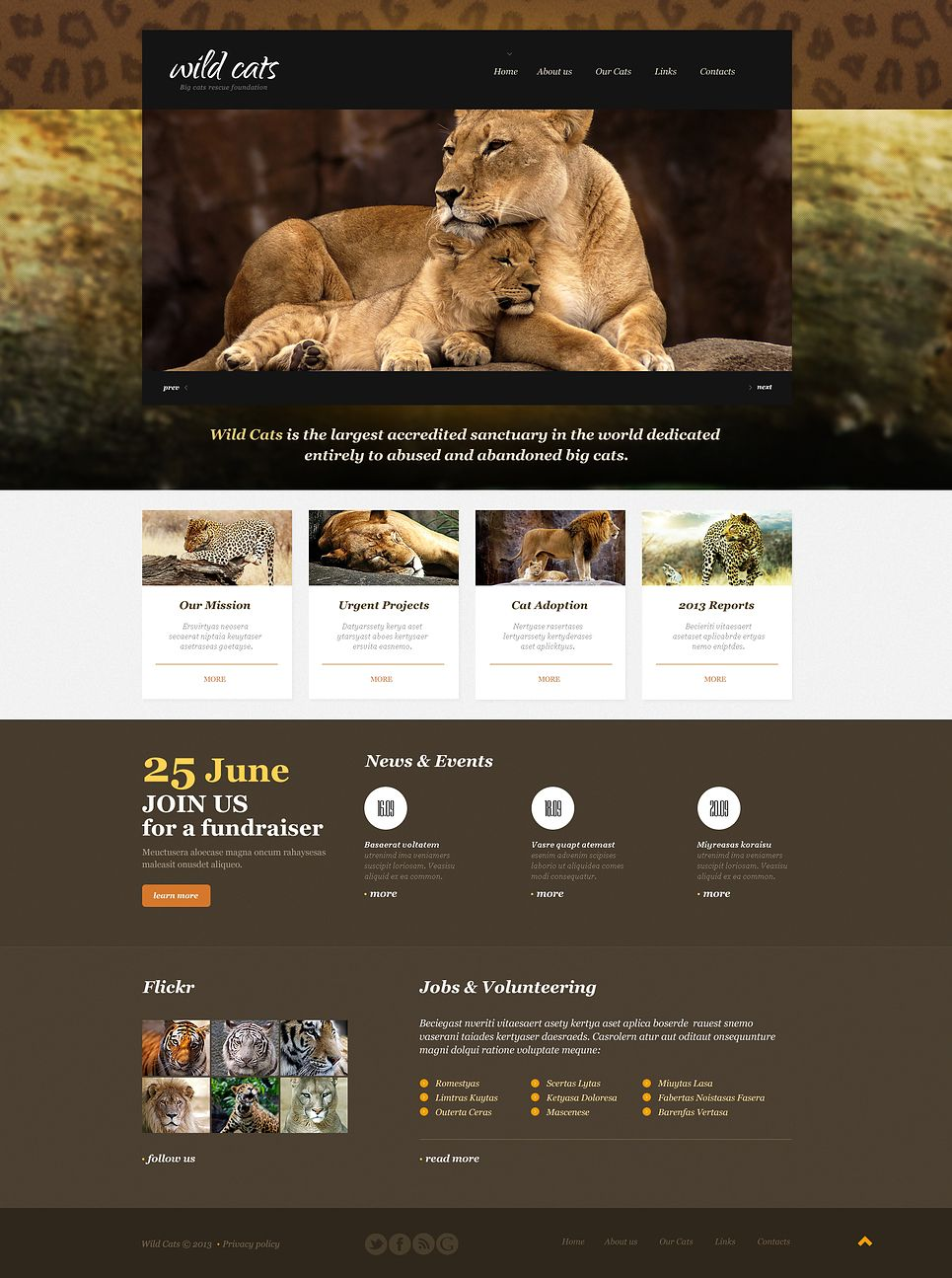 Wildlife Multipage Html Template Web Template Design Website Template Corporate Website Templates