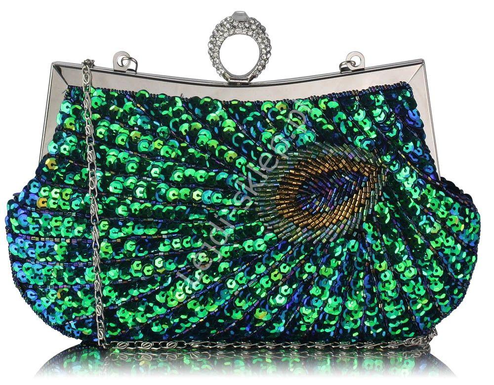 Cekinowa Torebka Z Pawim Piorem Wieczorowe Torebki Green Sequins Feather Design Evening Bags