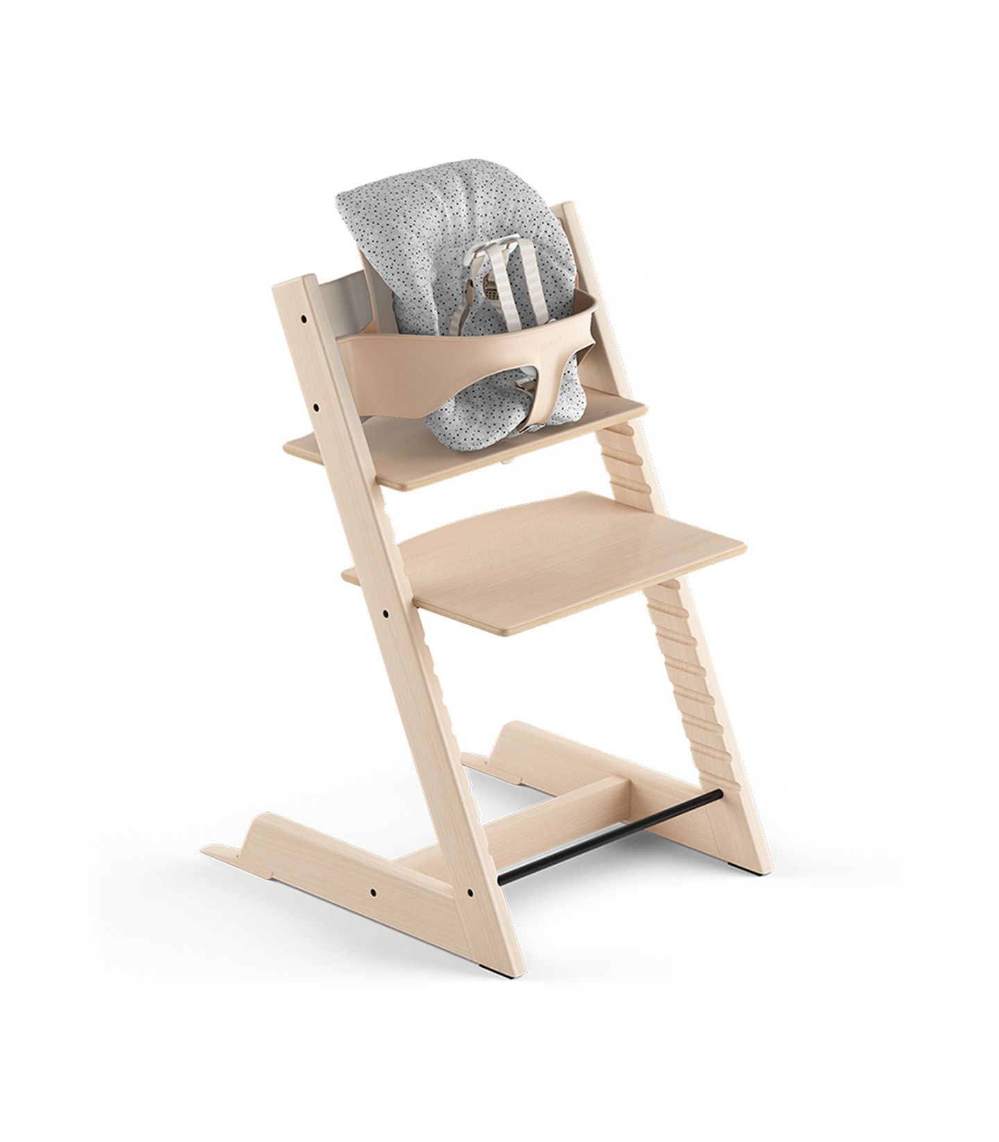 Tripp Trapp Natural Beech With Tripp Trapp Baby Set And Baby Cushion Cloud Sprinkle Us Version With Harness Best High Chairs Tripp Trapp Chair Chair