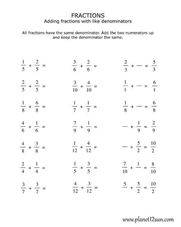 Free Printables Math Fractions Worksheets Adding And Subtracting Fractions Fractions Worksheets