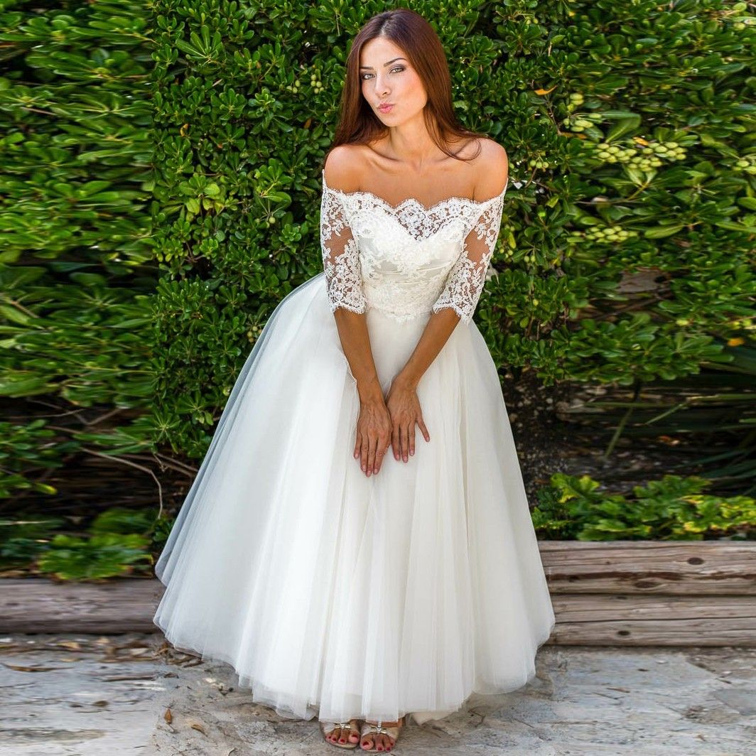Wedding dresses with lace sleeves off the shoulder  ALine OfftheShoulder Half Sleeves Tulle Wedding Dress with Lace
