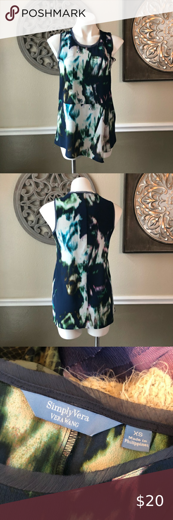 Simply Vera  sleeveless blouse blue print Simply Vera Vera Wang Brand  size XS blue and turquoise with white and green abstract print  sleeveless with sheer raw hem on trim  gently used in great condition no tears or stains measurements laying flat: 17.5 inches pit to pit and 27 inches shoulder to hem    #0383 Simply Vera Vera Wang Tops Blouses