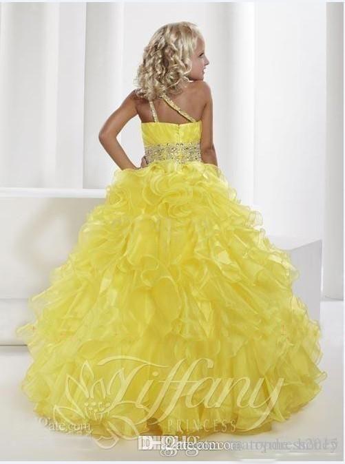 bf6063dd37e Flower Girl Dresses Cheap Purple Yellow Sleeveless One Shoulder Beaded  Cascading Ruffles Floor Length Organza Little Girls Pageant Dress GG from  ...