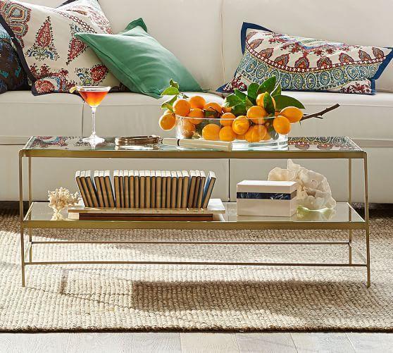 Elegant 399 POTTERYBARN HAS SIDE TABLES TOO Leona Metal Rectangular Coffee Table,  Brass Finish