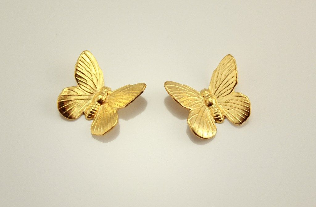 Magnetic Non Pierced or Pierced Fabric Hand Painted Butterfly Earrings