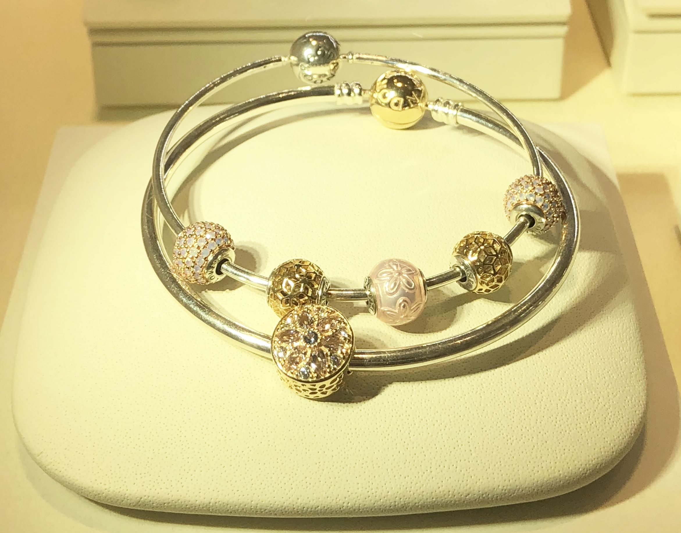 fabaa58f8 Pandora two tone pink floral essence 14k gold charm bracelet display by  Janelly
