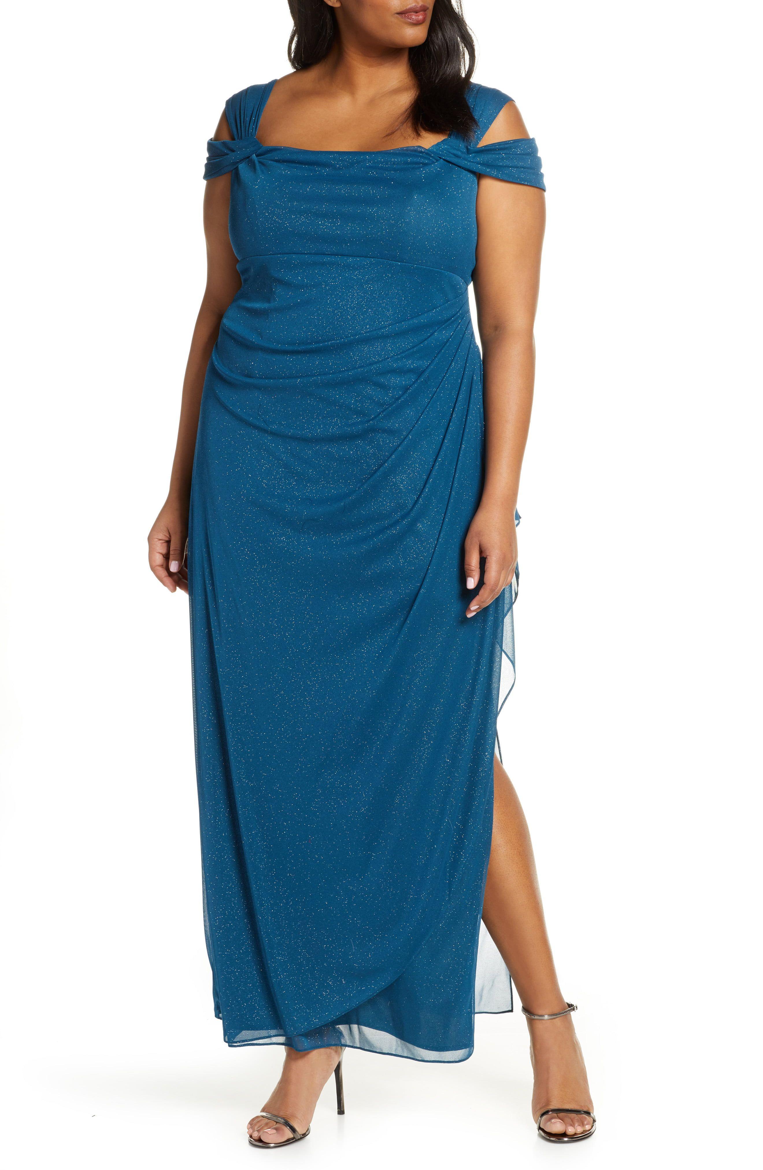 Alex Evenings Cold Shoulder Sheath Gown (Plus Size