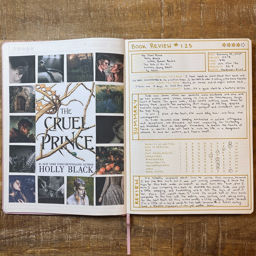 Book Review 125 The Cruel Prince Holly Black Jessie Reads Too Much Bullet Journal Inspiration Book Review Journal Book Journal