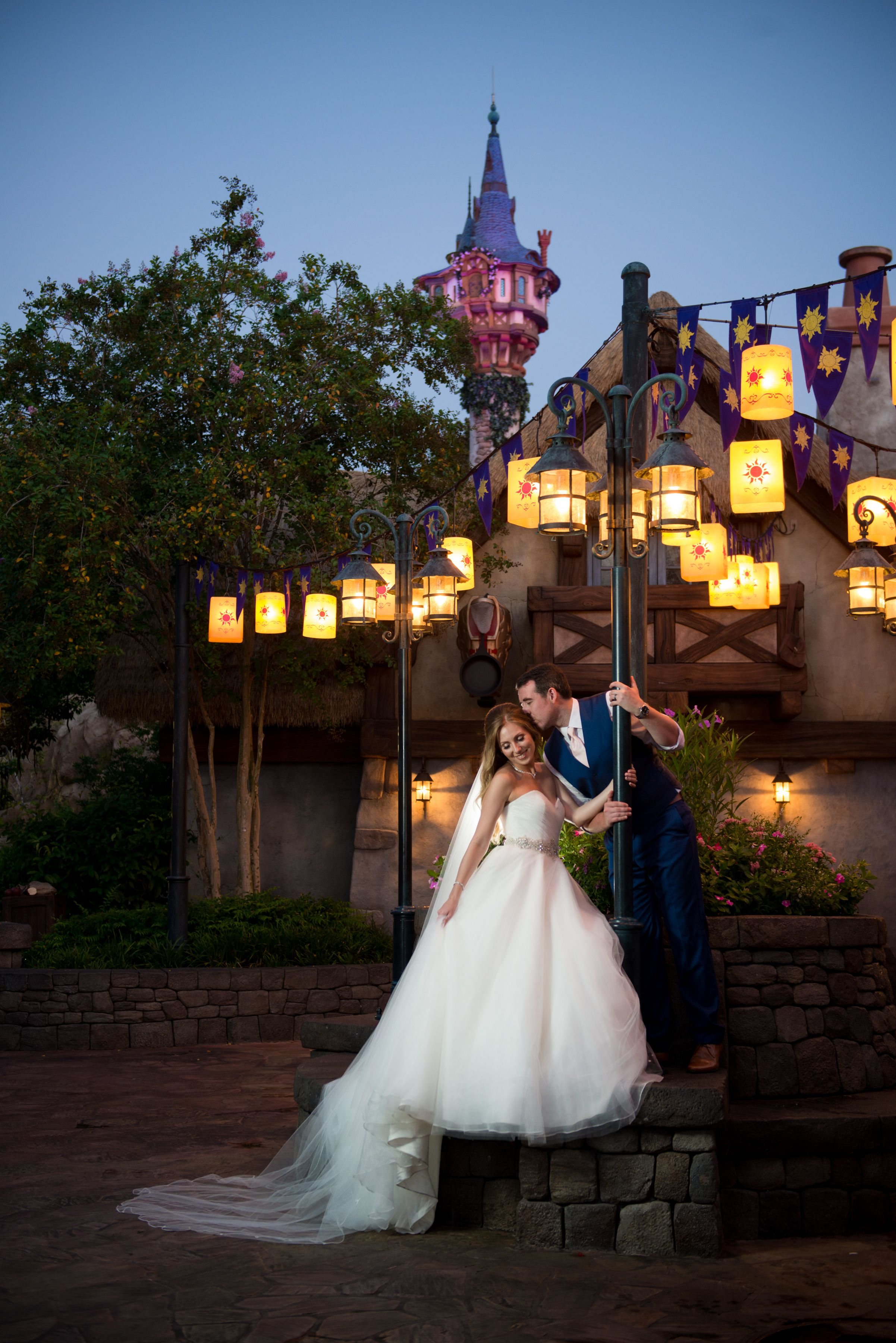 Early Morning Tangled Wedding Portrait At The Magic Kingdom Photo Beth Disney Disney Fairy Tale Weddings Tangled Wedding Disney World Wedding