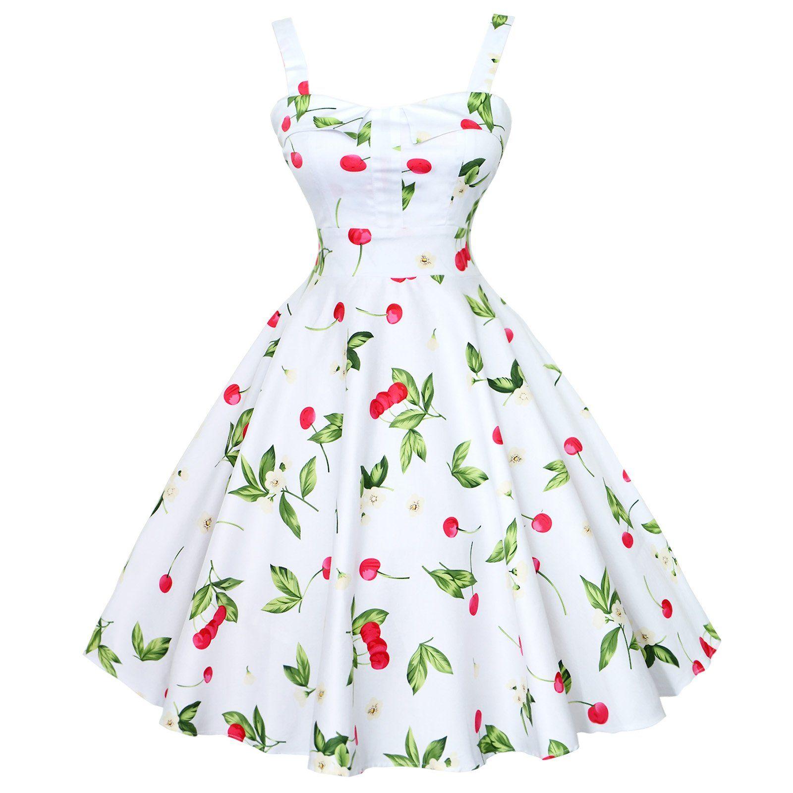 Maggie Tang Women S 1950s Vintage Rockabilly Dress Size S Color White Cherry Vintage Rockabilly Dress White Vintage Dress Vintage Dresses [ 1600 x 1600 Pixel ]
