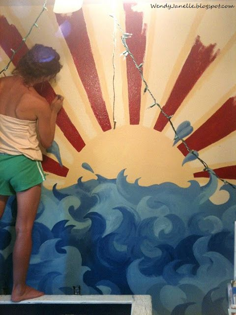 Working on The Sun and the Sea mural, in my son\'s bedroom | My Art ...