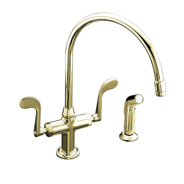 Kohler Essex Kitchen Sink Faucet with Wristblade Handles and ...