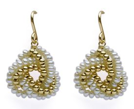 gold and white pearl knot - viv & ingrid