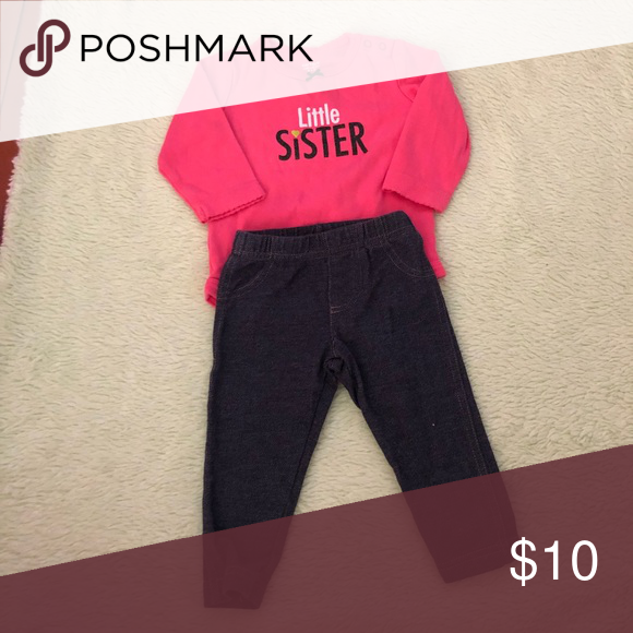 47c060e96 Carter's Little Sister bodysuit with jeggings 6 month Carters matching set.  Little sister. Pink bodysuit/ jeggings (jean leggings). Looks like new!