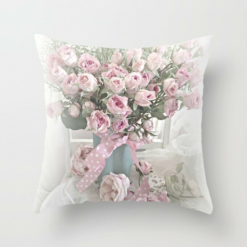 Soft Rose Flower Throw Pillow Case For Sofa Home Decor For