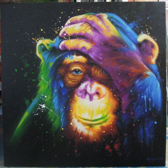 Colorful Monkey painting oil painting on canvas 40″X40″