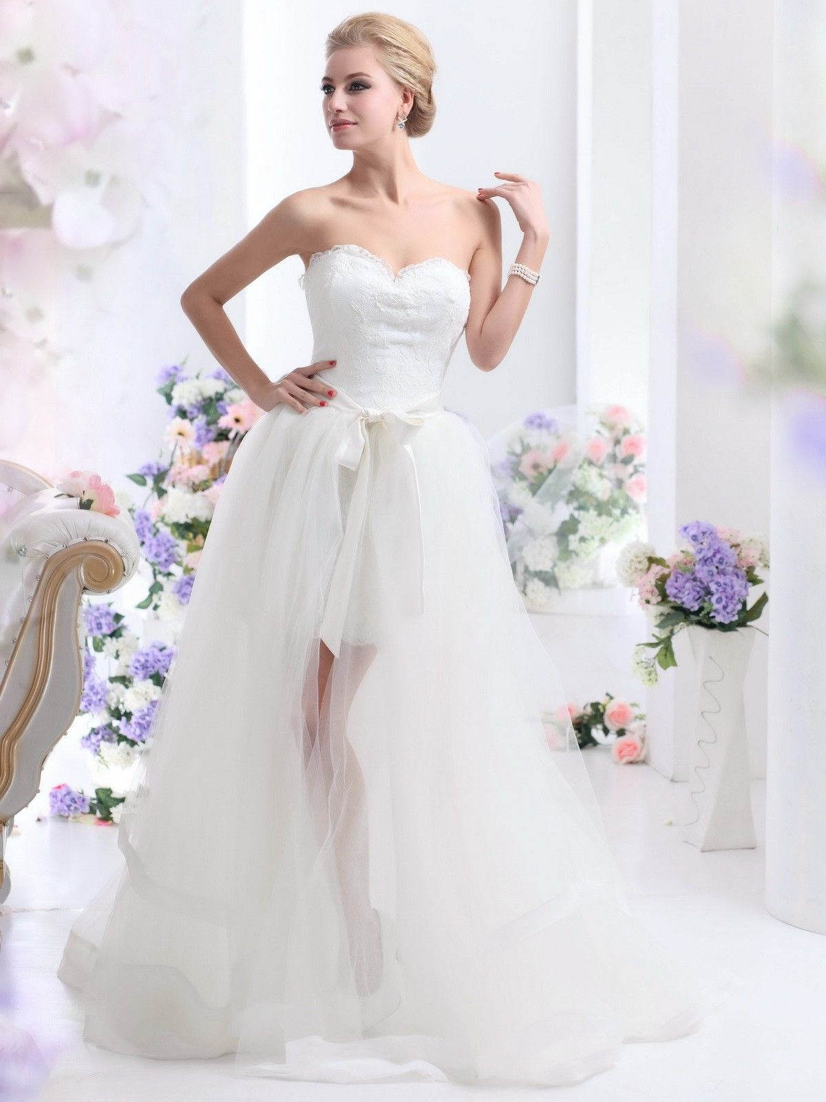 Elegant u luxurious aline highlow tulle wedding dress wd