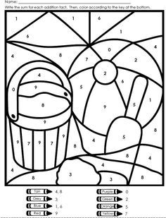 Summer Color By Number Kindergarten Colors Math Coloring Summer Coloring Pages