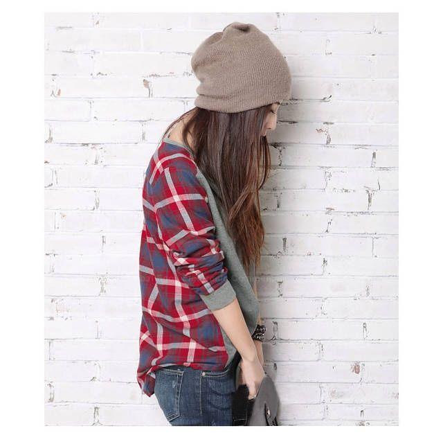 Moda de la calle Chequeado Mujeres de manga larga de la camiseta para Vender - La Tienda En Online IGOGO.ES