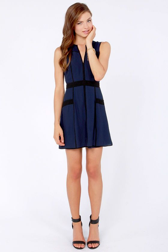 Double The Fun Black And Navy Blue Dress