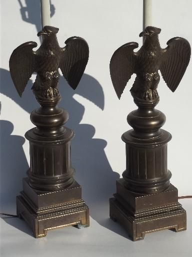Vintage Federal Eagle Table Lamps Cast Metal W Antique Brass Finish Lamp Metal Casting Electric Lamp