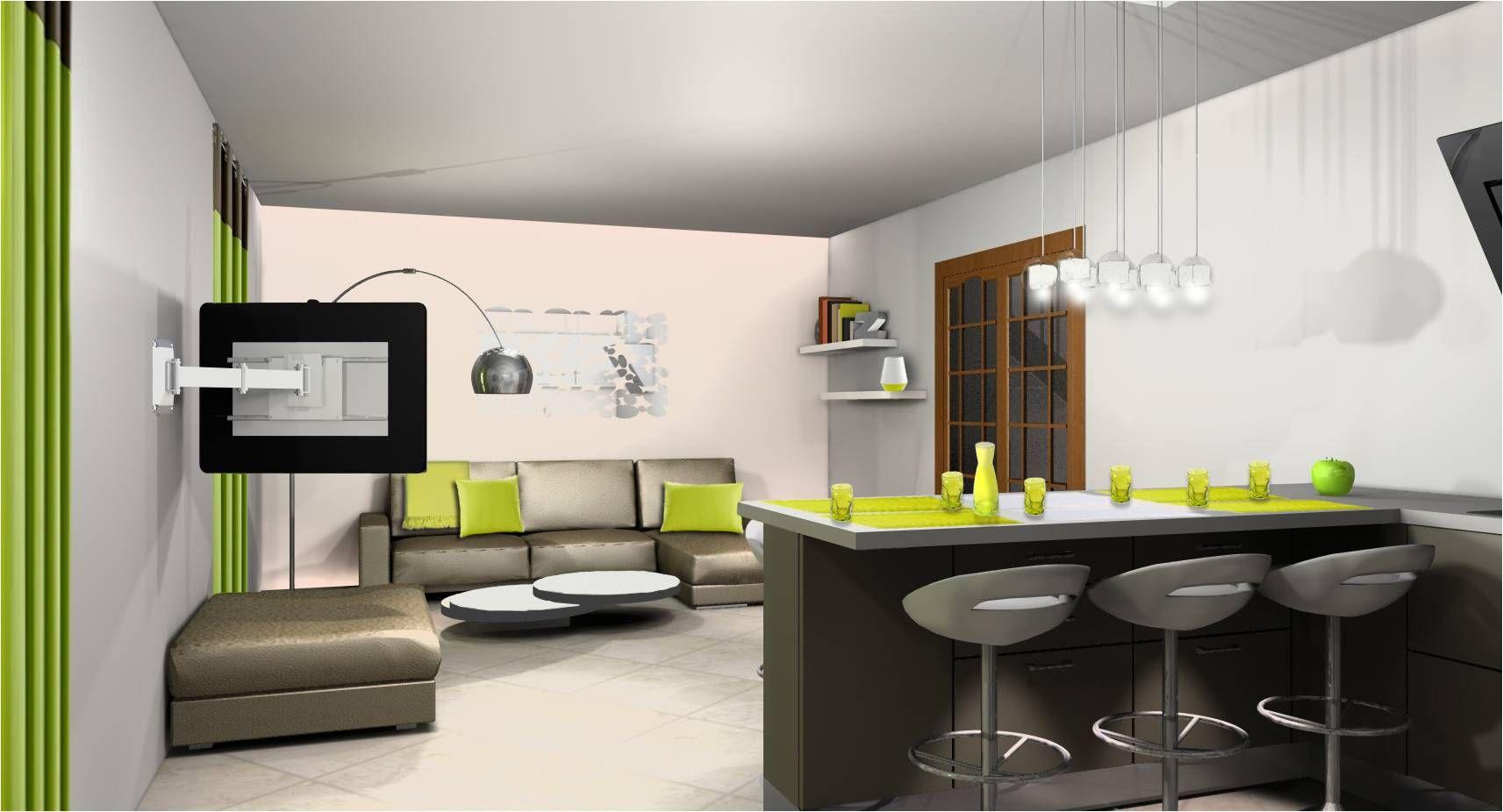 Deco salon cuisine ouverte 11m11 (avec images)  Idee deco petit