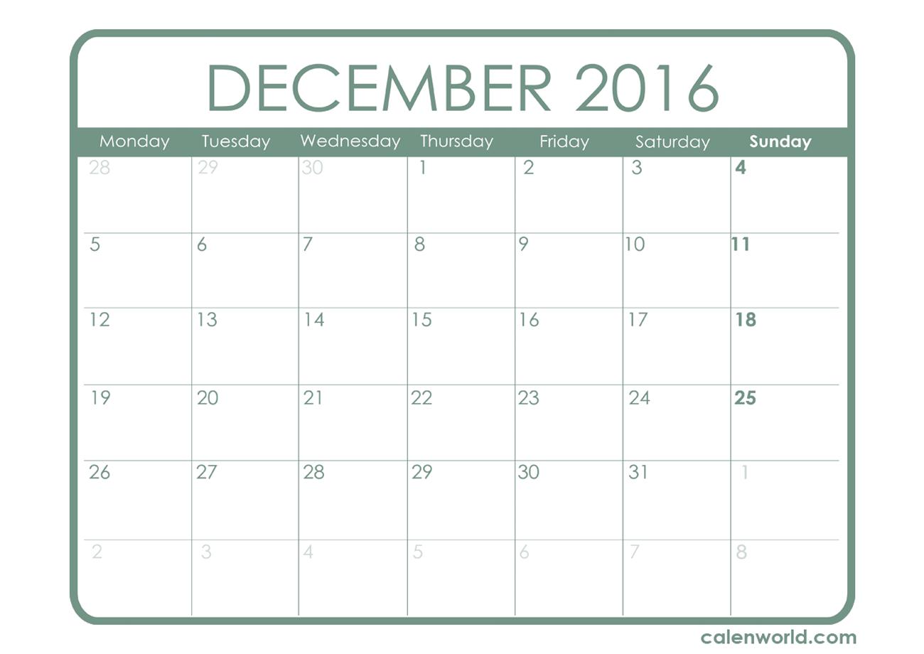 Decorated December  Calendar Printable  Calendar