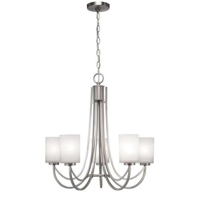 Hampton Bay 5 Light Brushed Nickel White Shade Ceiling Chandelier 89544 At The Home Depot Ceiling Chandelier Chandelier Light