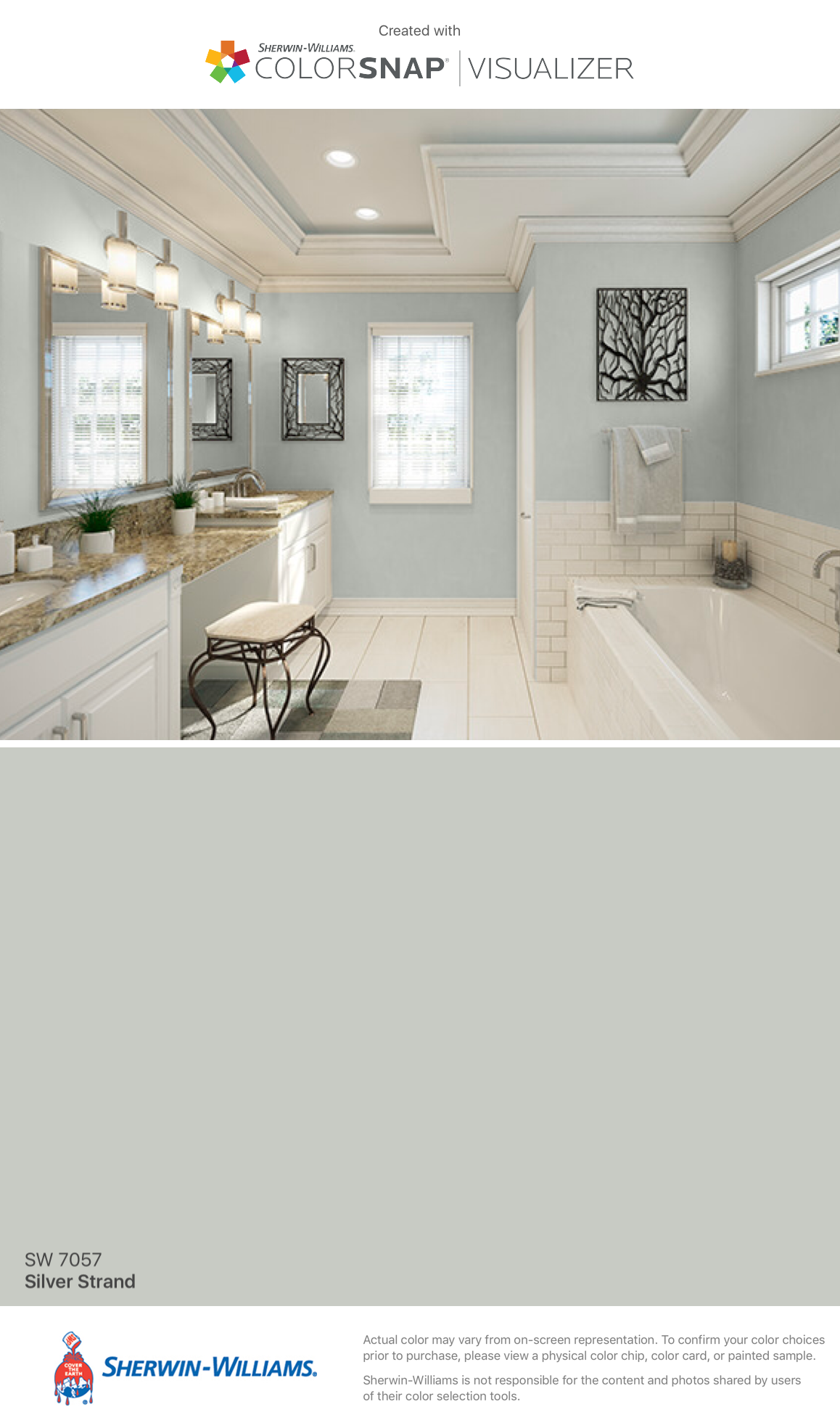 I Found This Color With Colorsnap Visualizer For Iphone By Sherwin Williams Silver Strand Sw 7 Paint Colors For Home Painting Bathroom Matching Paint Colors