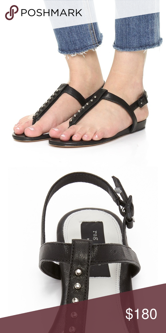 d3bb877ca Rag & Bone Eli sandals in black Black thong sandals that buckle around the  ankle and have silver stud details on the front rag & bone Shoes Sandals