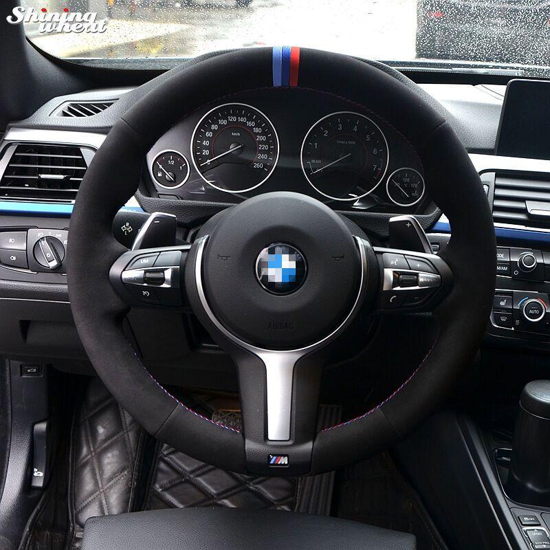 Blue Dark Blue Red Marker Black Suede Steering Wheel Cover For Bmw F33 428i 2015 F30 320d 328i 330i 2016 M3 M4 Steering Wheel Cover Steering Wheel Leather Diy