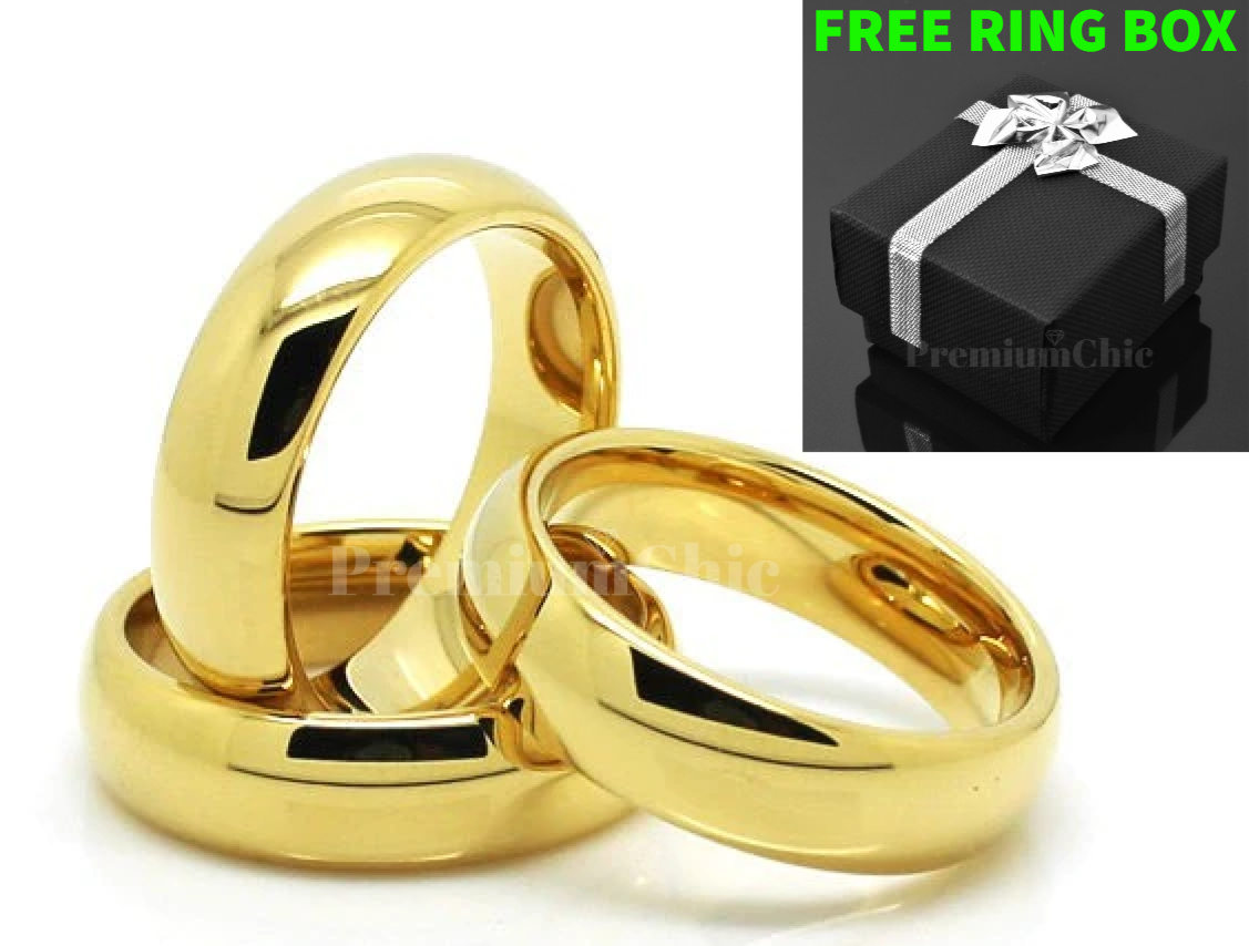 Tungsten Carbide Classic 18k Gold Plated Wedding Band Men Women Engagement Ring In 2020 Gold Plated Wedding Band Rings For Men Mens Wedding Bands