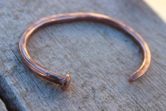 Mens Nail Bracelet Copper Cuff Custom Handmade Raw Organic Hand Forged Hammered Modern Design This