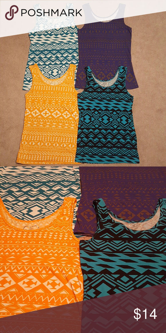 Rue 21 Tank Top Bundle 4 Aztec pattern print tank tops - blue and white, purple, orange and white, and blue and black! All Size Large. Great condition no holes or stains! Light weight material! Can sell separately or combine with other items! Huge sale on tank tops! Smoke free home  Ships same day or next day! Rue 21 Tops Tank Tops