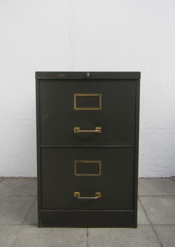 This olive-colored metal filing cabinet dates from the 1940s 1o 1950s and was made by the French company Roneo. The groups and address fields are made of ... & This olive-colored metal filing cabinet dates from the 1940s 1o ...