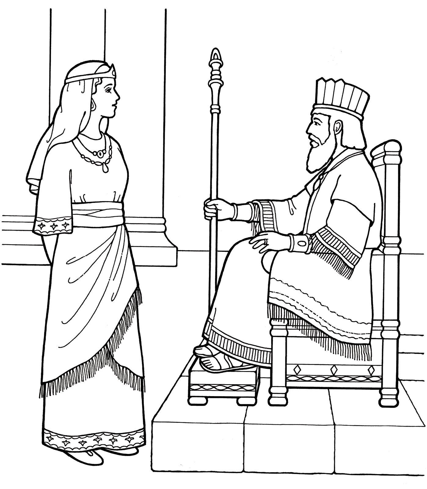 Printable coloring pages of queen esther - An Lds Primary Coloring Page From Lds Org Queen Esther With The King