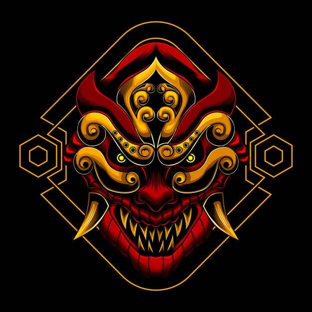 Aangry Ronin Samurai Mask Seni Jepang Tato Jepang Seni Konsep