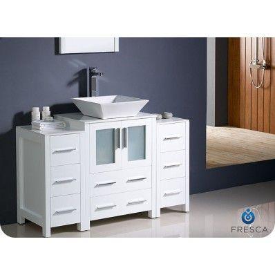 "Torino White Vessel 48"" Modern Single Sink Bathroom Vanity ..."