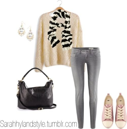 Sarah Hyland Inspired by ashleyglass featuring h&mLong sleeve shirt / H&M skinny jeans, $32 / H&M , $16 / H&M , $9.73 / H&M , $13