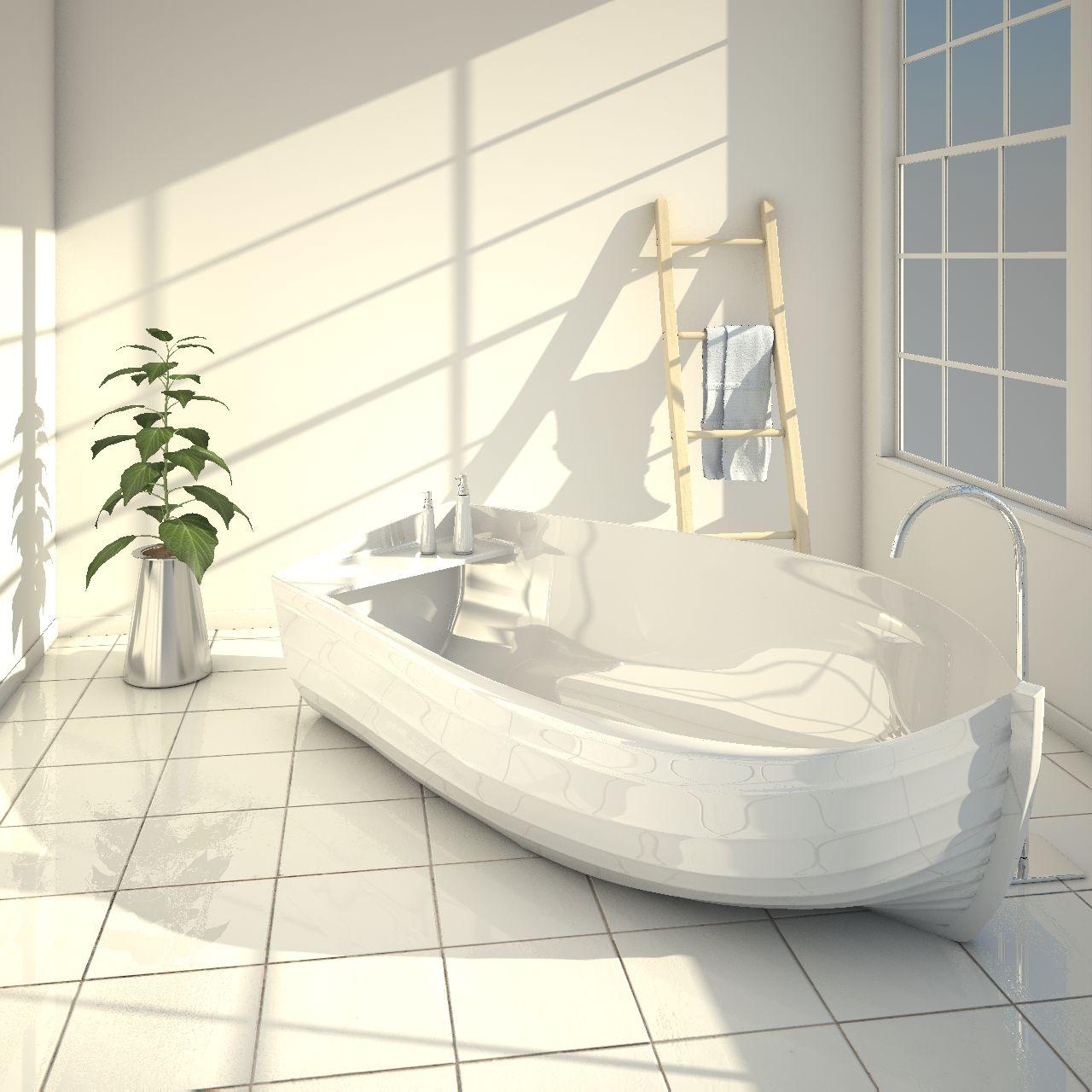 vasca da bagno di design a forma di barca ocean made in italy realizzata in adamantx