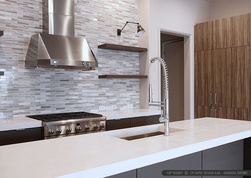 Dark Kitchen Cabinets White Quartz Countertop With Modern Subway Marble Kitchen Backsplash Tile